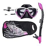 Seguridad Easybreath Adultos Gafas de Bucear Completamente Seco Máscara de Buceo Máscara Snorkel Hombres Mujer Tubo Respirador Set de Buceo Gafas de Natación Anti-Niebla Eficaz (Color : Purple)