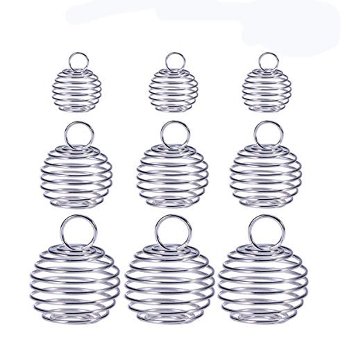 Milisten 30pcs Spiral Bead Cages Pendants 3 Sizes Spiral Crystal Stone Holder Cages Pendant for DIY Craft Necklace Bag Keychain Jewelry Making