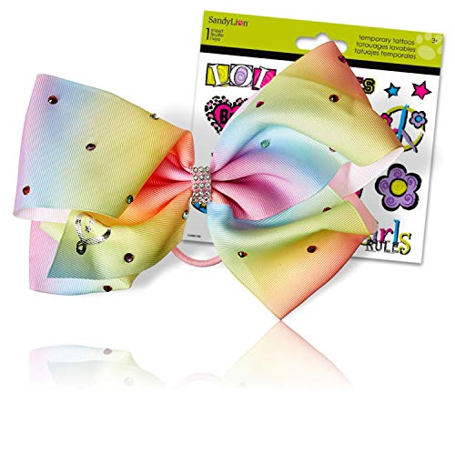 JoJo Siwa Bows Signature Collection Hair Bows for Girls - JoJo Bow Bundled with Best Friends Forever BFF Temporary Tattoos (Rainbow JoJo Hair Bow)
