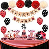 KeaParty Ladybug Baby Shower Party Decorations Supplies Kit, Welcome Baby Banner, Oh Baby Cake Topper, Ladybug Walking Balloons, Pom Poms