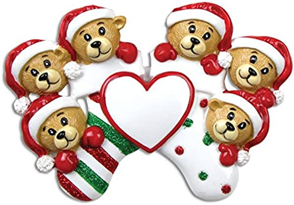 Grantwood Technology Personalized Christmas Ornament Family Series 6 Bears 抱佛袜 Personalized By Santa Family Of 6 Bear Ornament Bear Christmas Ornaments