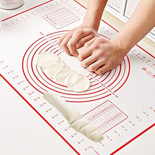 Silikon-Backmatte, antihaftbeschichtete Backmatte, extra groß, mit Messungen zum Backen, perfekte Matte, Teigrollmatte, hitzebeständiger Backofeneinsatz, Tortenbrettmatte, Mehlpads, Backblätter rot