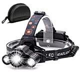 Cobiz Headlamp Flashlight USB Rechargeable - LED Brightest High 6000 Lumen Work Headlight,IPX4 Waterproof &...