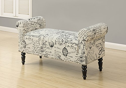 """Monarch Traditional Style Vintage French Fabric Bench, 44"""", Beige"""