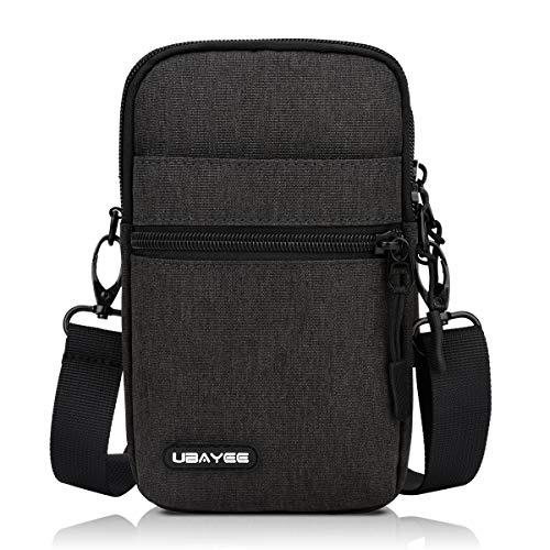 UBAYEE Kleine Handy Umhängetasche bis zu 6,7 Zoll, Herren Handytasche Schultertasche mit RFID-Blockierung Fach - Dunkelgrau