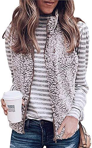 Senserise colete feminino de lã Sherpa quente com zíper reversível, sem mangas, jaqueta leve com bolsos, rosa, Medium