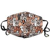Mundschutz Doodle Hunde Und Katzen Nahtloses Muster Mundmasken Staubverschmutzungsmaske Frauen Radfahren Camping Unisex Gedruckt Atmungsaktiv Einstellbar Neutral Staubdicht Gesich