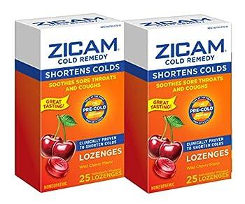Zicam Cold Remedy Zinc Lozenges Wild Cherry Flavor 25 Count  Pack of 2