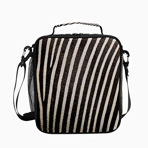 Zebra Stripes Fur Premium Insulated Lunch Box Spacious Durable School Lunch Bag for Kids Boys Girls Reusable Leakproof Cooler Tote Bag with Removable Shoulder Strap for Adults Men Women