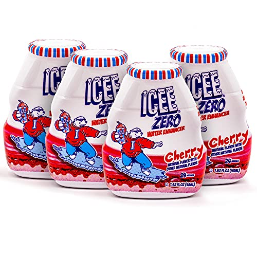 ICEE Zero Calorie Cherry Liquid Water Enhancer Drink Mix, Natural Flavor Drops, Sugar Free, 1.62 Fl Oz Concentrate (48 ml) - 4 Pack