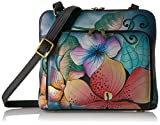 Anna by Anuschka Women's Genuine Leather Zip Around Cross Body | Medium Organizer with External Credit Card Pocket | Midnight Floral