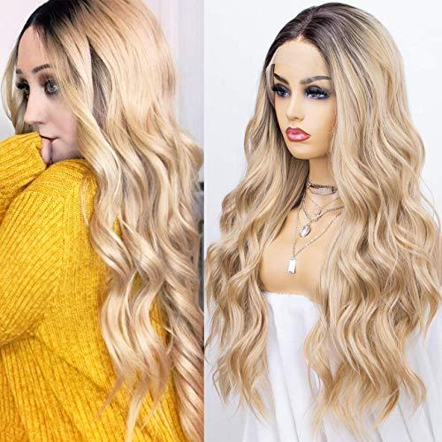 KRYSSMA Ombre Blonde Lace-Front Perücke für Frauen, lange synthetische wellige Perücke mit dunklen Wurzeln, hitzebeständig, 55,9 cm