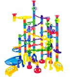 JOYIN Marble Run Premium Toy Set (170 Pcs), Construction Building Blocks Toys, STEM Educational Building Block Toy(120 Plastic Pieces + 50 Glass Marbles)