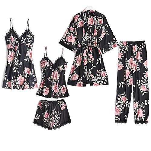Lachi 2/5PCS Kimono Bata Robe de Baño para Mujer Pijama Conjunto de Albornoces + Camisón+ Chaleco + Pantalones Cortos y Largo Satén Encaje Floral