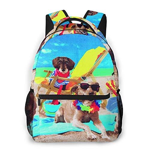 Lawenp Mochila Casual Multifuncional, Mochila de Tendencia de Moda, Mochila Linda 11.5 X 16 '' '' X 8 '' '' Seis Cachorros disfrazados por el mar