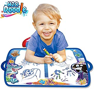 H2o Doodle Water Doodle Mat-Aqua Magic Pad-Road Trip Activities for Kids-Agua Drawing Board-Aquadoodle Mat for Color Wonder-Coloring Educational Drawing for Boys Girls Toddlers - Aqua Painting Toy