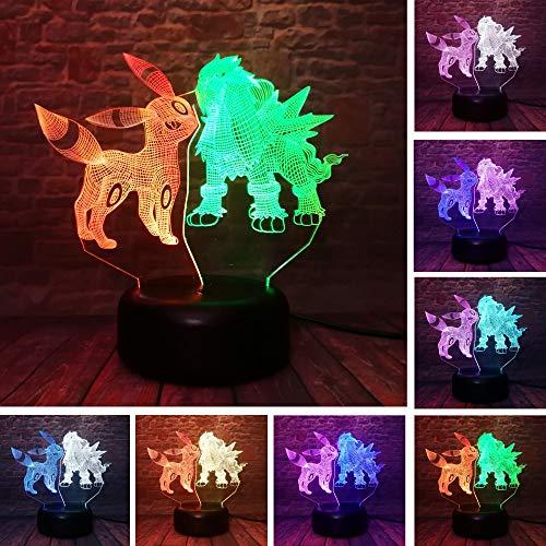 Fantasy Pokemon 3D luz de noche cargador USB decoración del hogar café fiesta juguete cumpleaños Navidad niños regalo