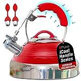 iCool-Handle Tetera Silbando Red Hotness, Acero Inoxidable Quirúrgico con 2 x Infusores, Compatible en todas las Estufas - Inducción o Gas