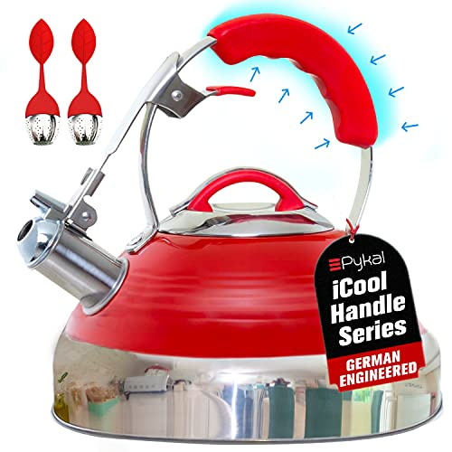 iCool-Handle Tea Kettle Whistling Red Hotness, Surgical Stainless Steel with 2 x Infusers, Compatible on all Stovetops - Induction or Gas, 2.8 QT Volume