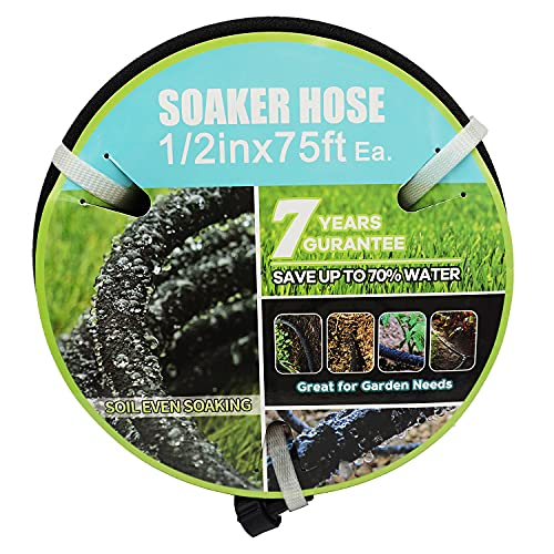 Soaker Hose with Connector 1/2in Diameter 75feet Black Garden Water Hose Flower Bed and Lawn Lightweight 1/2in75ft Hose