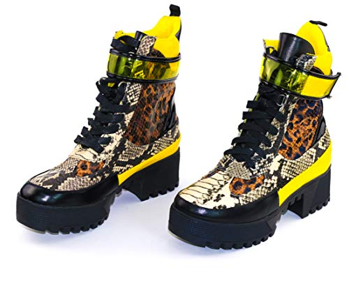 Cape Robbin Future Wave Combat Boots for Women, Platform Boots with Chunky Block Heels, Womens High Tops Boots - Leopard Size 10