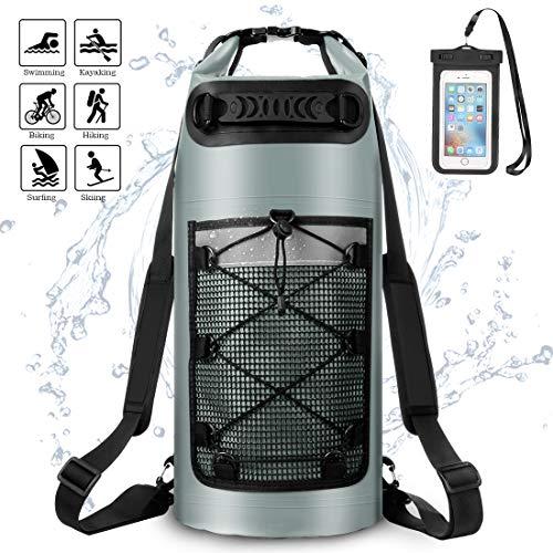 ALEENUN Dry Bag, Wasserdicht Taschen,Wasserdichter Packsack mit Handy Dry Tasche und Lang Verstellbarer Schultergurt- Gr. 10L, Grau