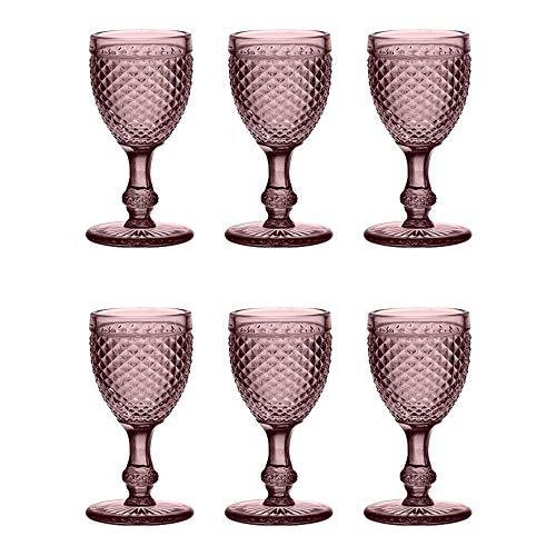 EME Mobiliario Copa de Cristal Tallado Picos en Color Rosa Set 6...