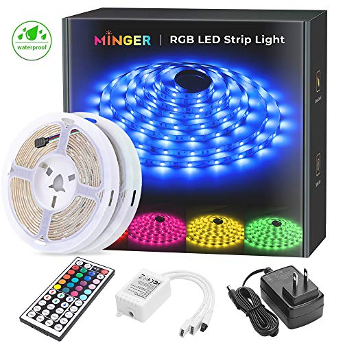 MINGER LED Strip Lights Kit, Waterproof 32.8ft 5050 RGB 300led Strips Lighting Flexible Color Changing Rope Lights with 44 Key IR Remote Ideal for Room, Home, Kitchen, Party, 12V/3A ETL Listed (2x5m)