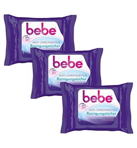 bebe Anti-Unreinheiten Reinigungstücher - Sanfte Tücher für die Gesichtsreinigung gegen Hautunreinheiten - ohne Parfüm - 3 x 25 Stück