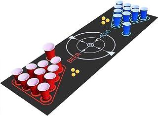 faburo Beer Pong Kit, Jeux à Boire, Pack Complet Beer Pong ,Tapis de Jeu Beer-Pong, 22 Tasses, 6 balles, pour Jeu Soirée J...