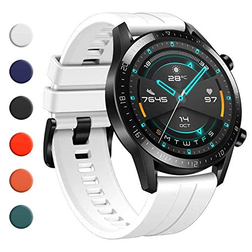 YHC Correa para Huawei Watch GT 2 / GT 2e 46 mm, compatible con Huawei Watch GT/GT Active 46 mm (07-Blanca)