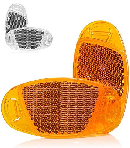 Kellago Starkreflektierende Speichen-Reflektor in Katzenaugen-Reflektoren/Fahrrad-Speichen-Reflektoren/Stvzo zugelassen [ mit starker Reflektionsfunktion für hohe Sicherheit! ] (Orange, 4er Pack)