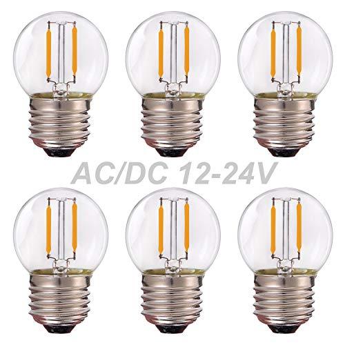 Grensk - AC/DC 12V-24V Niederspannung, G40 Edison LED Filament Mini Globe Glühbirne, 1W Entspricht 10 Watt Glühlampe - E27 Schraubensockel Warmweiß 2700K Nicht dimmbar -6Pack