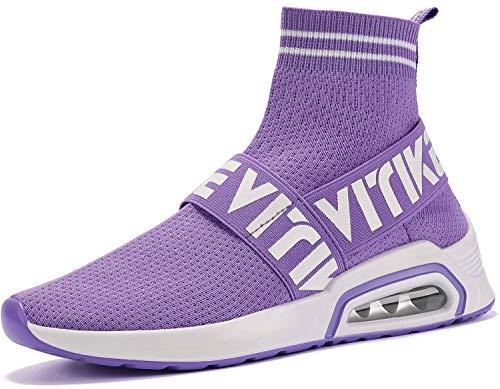 Donna Sneakers Scarpe da Ginnastica Ragazze Interior Casual all'Aperto Sportive Scarpe Calzino No Lacci,Viola,35 EU
