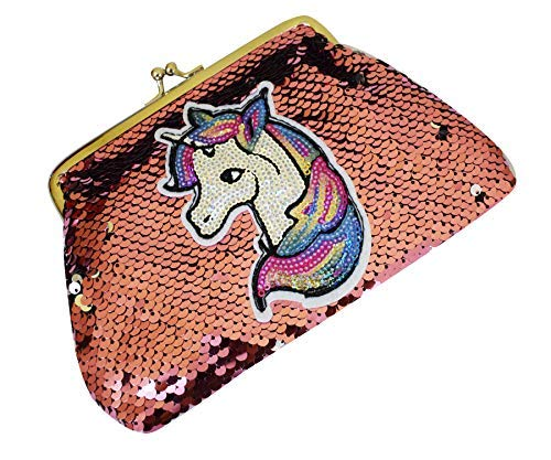 Party Hub Girls Latest & Unique Unicorn Sequins Sling Bag for Girls Brthday Gifts (Peach)