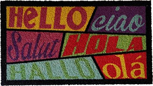 koko doormats Felpudo para Entrada de Casa Hello Hola Ciao Original y Divertido/Nylon con Base de PVC, 70x40 cm, Multicolor