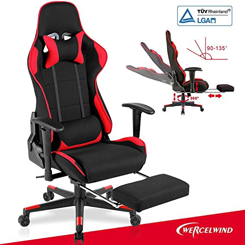 Mecor Gaming Chair Ergonomic Racing Style Adjustable High-Back Office Chair Computer Desk Swivel Chair with Footrest, Headrest and Lumbar Support(Red)