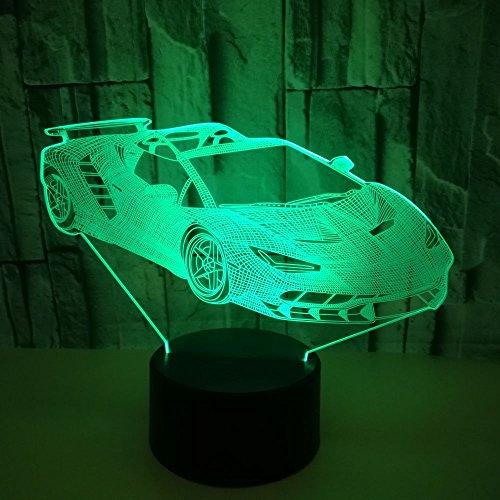 Nachtlicht Kind, Siebenfarbiger Wechsel,Sportwagen Muster Tischlampe Nachtlicht
