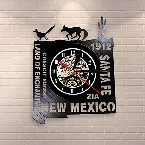 BFMBCHDJ Land of Enchantment Vinyl CD Disc Reloj de Pared New Mexico Record Watch Shadow Art Reloj de Pared con LED de 12 Pulgadas