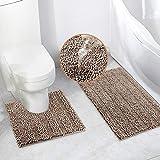 Bath Mats Set for Bathroom 2 Piece Dry Bath Rugs 20 x 20 U Shape Contour Rug & 20 x 32 Bathroom Rug Machine Wash Non Slip(Taupe)