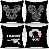 I Love You I Know Star Wars Han Solo and Lei Linen Throw Pillow Case,18 x 18 Inch Set of 4, Gift for Couples, Anniversary, Wedding, Engagement, Star Wars Mini Mouse Cushion Cover for Sofa Couch Bed