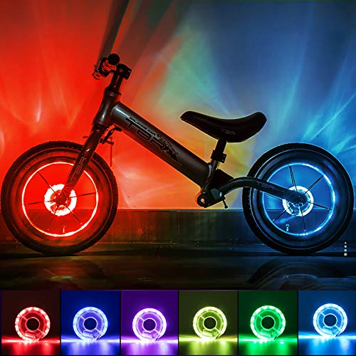 Herefun Luci Ruote Dici LED, Luci Ruote Bici Impermeabile, USB Ricaricabile LED Bici Ruota Luci, Luce Bicicletta Accessori luci, LED Colorati Razze Luce Biciclette per Bambini (Bagliore)