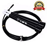 PRO JUMP FIT Unisex Adult Crossfit Jump Rope–Speed Cable Jump Rope for Crossfit Boxing and MMA Athletes –Best rx Jump Rope for Beginners Exercise Tool(Black)