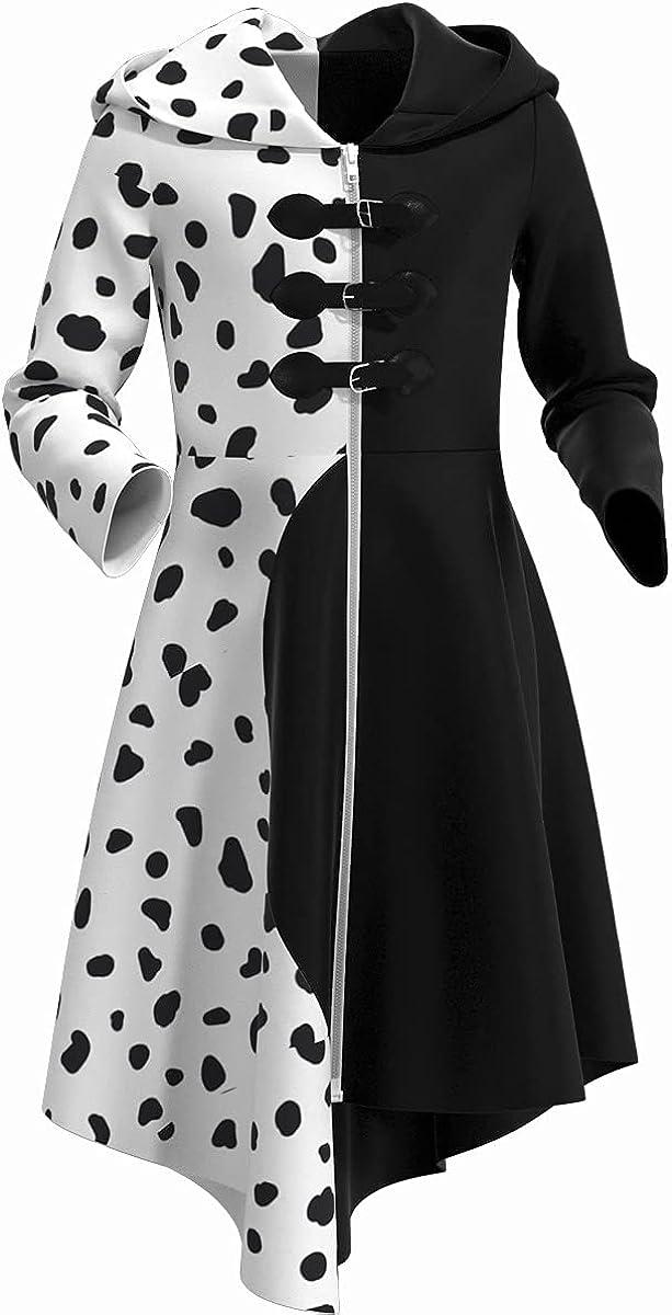 Girls Cruella Deville Costume Dalmatian Dress Coat discount 2021 Gorgeous