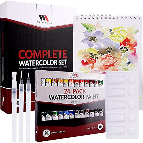 W.A. Portman Complete Watercolor Kit - 24 pack Watercolor Paint Tubes - 3 Refillable Watercolor Brush Pens - 8.5x11 Inch Watercolor Pad - Paint Palette - Watercolor Paint Set for Artists and Students