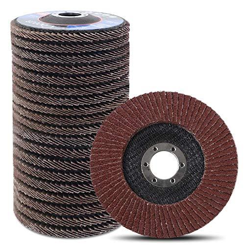 Coceca - Rueda de solapa, 20 unidades, 4 1/2 pulgadas, para amoladora angular, óxido de aluminio abrasivo tipo 27 (grano 40/60/80/120)
