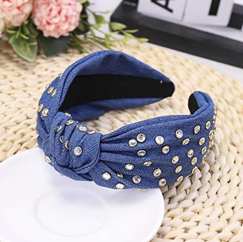 Turbantes para Mujer Diademas Diadema De Moda para Mujer, Diadema De Diamantes De Imitación Brillante, Accesorios para El Cabello De Tela Vaquera Azul, Diadema Azul