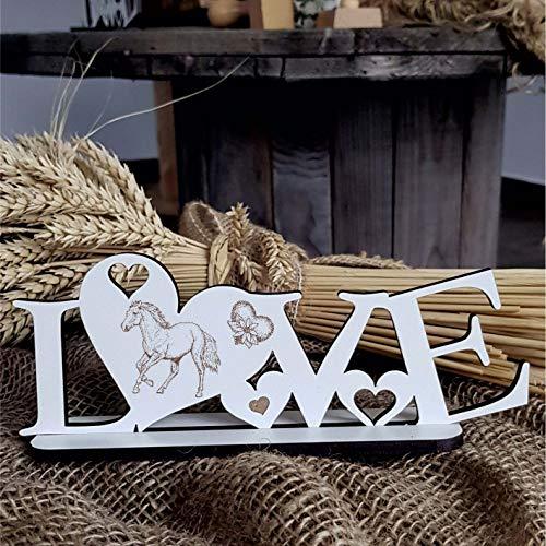 Decoratieve staander Love met hart en paardenmotief