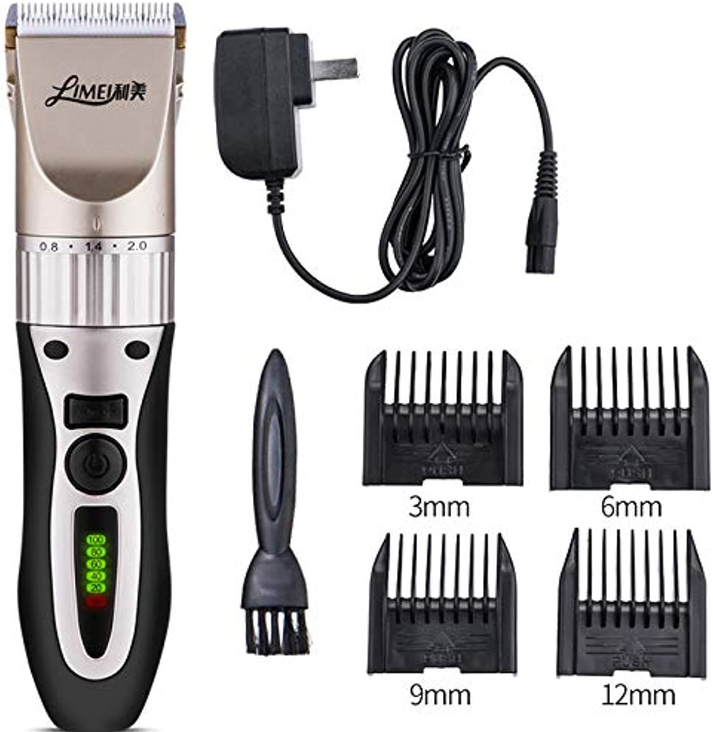 Professional Dog Grooming Clippers, Rechargeable Low Noise Cordless Dog Hair Trimmer Sharp Ceramic Blade Pet Grooming Tool for Dog Cat