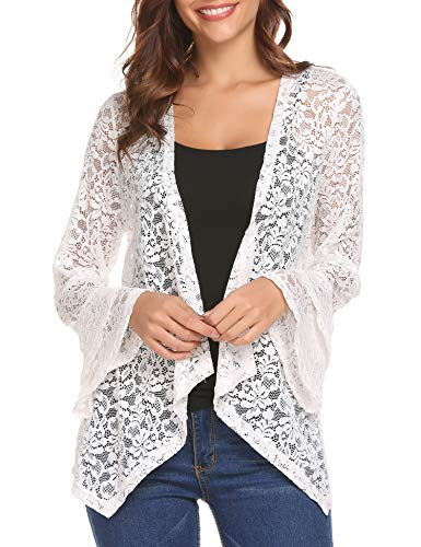 Deawell 3 4 Sleeve Cardigan Womens Plus Size Lace Crochet Jacket Open Front Cover Up (White, XXL)